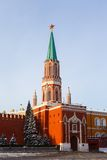 Nikolskayatoren van Moskou het Kremlin Stock Foto
