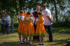 During festival events dedicated to 69th anniversary of urban-type settlement Nikolskiy formation on the river Svir Royalty Free Stock Images