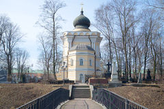 Nikolskoye cemetery and the church of St. Nicholas, april day. Alexander Nevsky Lavra, St. Petersburg Royalty Free Stock Photo