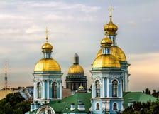 从Nikolsky大教堂的高度的看法日落的 图库摄影
