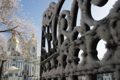 Nikolsky cathedral 2. Nikolsky cathedral. Winter. Hoarfrost. A pig-iron fencing. A city landscape Royalty Free Stock Image