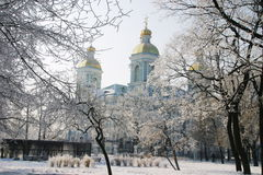 Nikolsky cathedral 4. Nikolsky cathedral. Winter. Hoarfrost. A pig-iron fencing. A city landscape Royalty Free Stock Image