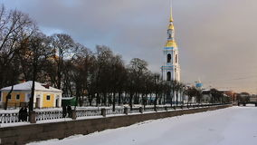 Nikolsky Cathedral and frozen river stock video