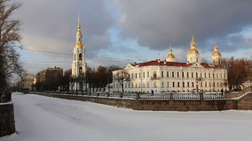 Nikolsky Cathedral and frozen river stock video footage
