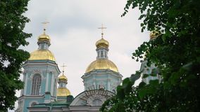 Nikolsky marine cathedral. Building in Saint-Petersburg stock footage