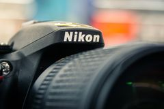 Nikon καμερών λογότυπων νέα φωτογραφία Equipmen επίδειξης κινηματογραφήσεων σε πρώτο πλάνο πρότυπη Στοκ Φωτογραφία