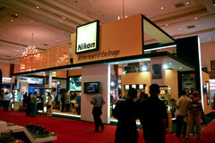 Nikon. Jakarta, March 12, 2008. The Nikon counter in Focus Photography Expo 2008 in Jakarta Convention Center stock photo
