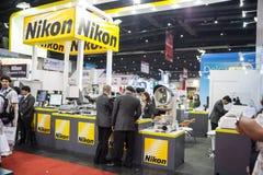 Nikon boot. BANGKOK - SEPTEMBER 22 :Nikon boot show lens for factory  display at METALEX 2014 on Nov 22,2014 in BITEC ,Bangkok, Thailand Stock Photos