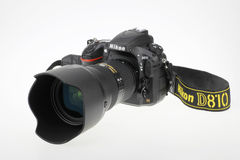 Nikon camera. The Nikon Digital Single Lens Reflex camera,Nikon D810 Royalty Free Stock Photography
