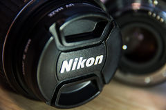 Nikon camera lens. Photo of nikon lens in macro Royalty Free Stock Images