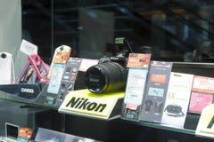 The nikon camera shop. The nikon camera d7100 in the shop, hong kong Stock Photo