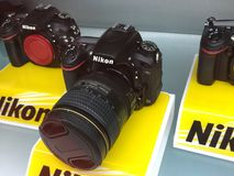 Nikon camera in show case Royalty Free Stock Image
