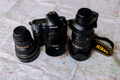 Nikon camera with three lenses Royalty Free Stock Images
