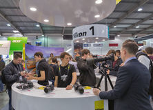 Nikon company booth at CEE 2015, the largest electronics trade s Stock Photo