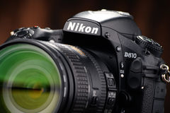 Nikon D810 camera with nikkor zoom Stock Photo