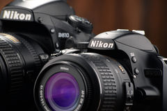 Nikon D810 and D3200 with nikkor zooms Royalty Free Stock Photo