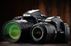 Nikon D810 and D3200 with nikkor zooms Stock Photos