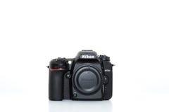 Nikon D7500 front. Black camera Stock Image