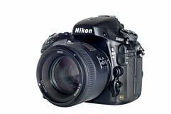 Nikon D800 isolated. Nikon D800 professional digital SLR camera with big lens stock photo