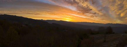 Pindos Mountain-range Stone Forest Sunrise Pano. stock photos