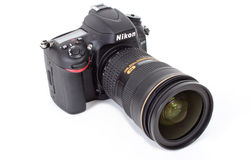 Nikon D600. New photo camera is Nikon D600 isolited on white background royalty free stock image