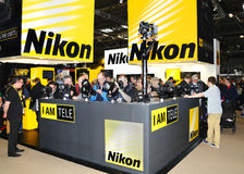 Nikon display stand. At Focus on Imaging, N.E.C, Birmingham, England, March 2013 royalty free stock photography