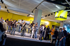 Nikon exhibition equipment people. Nikon equipment cameras and lenses at Photokina (23.-28.09.2008). Within the bounds of the whole imaging workflow photokina Royalty Free Stock Photography