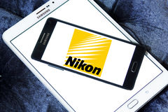 Nikon logo. Logo of camera manufacturer nikon on samsung mobile phone a5 stock photos