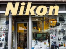 Nikon Logo on their main shopin Belgrade. Nikon Corporation is a major photography and optics japanese company spread worldwide. Picture of a Nikon sign on their Royalty Free Stock Photos