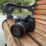 Nikon camera. The best Nikon photocamera on bench in city park Stock Photography