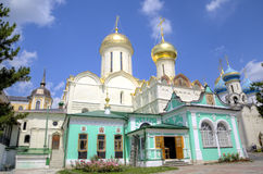 Nikon`s Church and the Cathedral of the Trinity. Holy Trinity St. Sergius Lavra. Sergiev Posad, Russia stock images