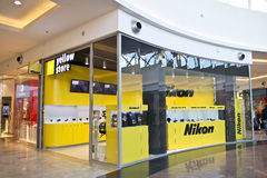 Nikon Store. In Bucharest Mall Baneasa, The Second Store Nikon Opens In Europe royalty free stock image