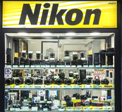 Nikon Store. An Italian Nikon store, Nital. Different kinds of digital reflex DSRL camera, lenses and accessories with other third brand lens like Sigma, Tamron Stock Photo