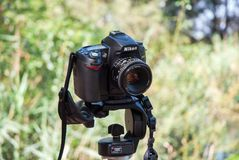 Nikon on a Tripod. Nikon camera standing still on a tripod in the forest royalty free stock images
