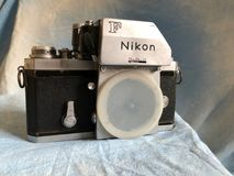 Nikon vintage film camera. Nikon vintage film camera witch was by many professional photographers in the 1970s and 1980s stock images