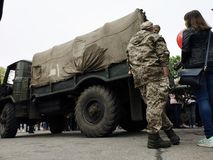 NIKOPOL, UKRAINE - MAY, 2019: Ukrainian military is about an army truck royalty free stock photos