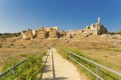 Nikopolis teatr w Preveza Greece, antyczne rzymianin ruiny obrazy royalty free