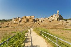 Nikopolis theater in Preveza greece, ancient Roman ruins. Summer Royalty Free Stock Images