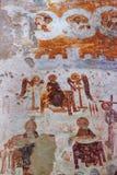 Nikortsminda, Geórgia - 28 de abril de 2017: Interior e fresco murais na catedral de Nikortsminda em Racha, Geórgia Imagem de Stock