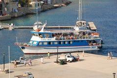 Nikos Express-veerboot, Halki Royalty-vrije Stock Foto's