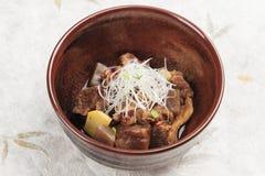Nikujaga包括牛肉,土豆和萝卜炖顶部用切的萝卜和薤在棕色陶瓷碗在washi 库存图片