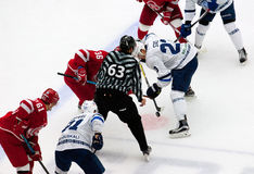 A. Nikulin (36) and A. Stas (23) on faceoff. PODOLSK - OCTOBER 30, 2016: A. Nikulin (36) and A. Stas (23) on faceoff on hockey game Vityaz vs Dynamo Minsk on Royalty Free Stock Photography