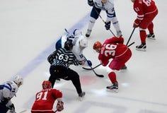 A. Nikulin (36) vs M. Ellison (10) on faceoff. PODOLSK - OCTOBER 30, 2016: A. Nikulin (36) vs M. Ellison (10) on faceoff on hockey game Vityaz vs Dynamo Minsk on Royalty Free Stock Images