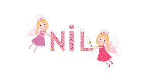Nil female name with cute fairy Royalty Free Stock Photo