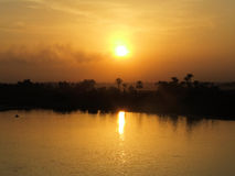Nil river sunset. Sunteți over the river in Egypt Royalty Free Stock Photography