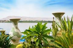 Nil rzeka przy Luxor Egipt obrazy royalty free