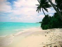 Nilandhoo海滩,享受自然的秀丽• 免版税库存照片