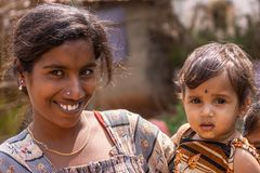 Closeup of mother and daughter, Nilavagilukaval Karnataka India.