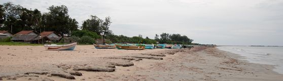 Nilaveli Beach and boats in Trincomalee Sri Lanka. Asia royalty free stock images