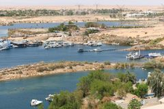 Nile of Aswan - Egypt. Scenery around the Aswan Dam in Aswan Egypt Royalty Free Stock Photography